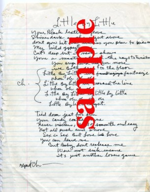 Handwritten Lyrics, Little by Little Alice Cooper